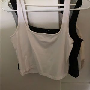 3 crop tops black, grey, and white